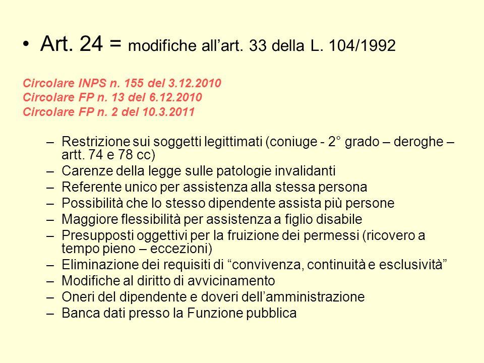 Art. 24 = modifiche allart. 33 della L. 104/1992 Circolare INPS n. 155 del 3.12.2010 Circolare FP n. 13 del 6.12.2010 Circolare FP n. 2 del 10.3.2011