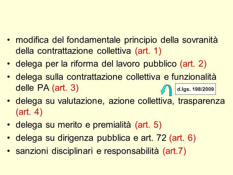 modifica del fondamentale principio della sovranità della contrattazione collettiva (art. 1) delega per la riforma del lavoro pubblico (art. 2) delega