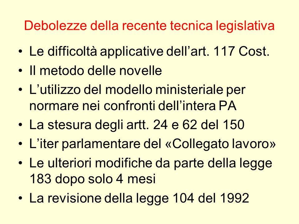 Debolezze della recente tecnica legislativa Le difficoltà applicative dellart. 117 Cost. Il metodo delle novelle Lutilizzo del modello ministeriale pe
