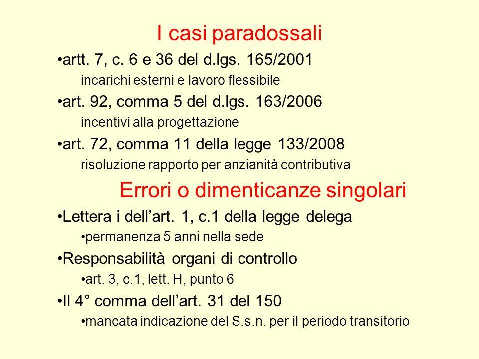 I casi paradossali artt. 7, c. 6 e 36 del d.lgs. 165/2001 incarichi esterni e lavoro flessibile art. 92, comma 5 del d.lgs. 163/2006 incentivi alla pr