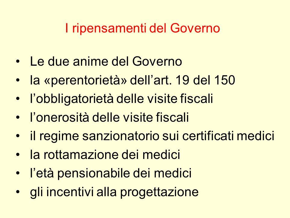 I ripensamenti del Governo Le due anime del Governo la «perentorietà» dellart. 19 del 150 lobbligatorietà delle visite fiscali lonerosità delle visite