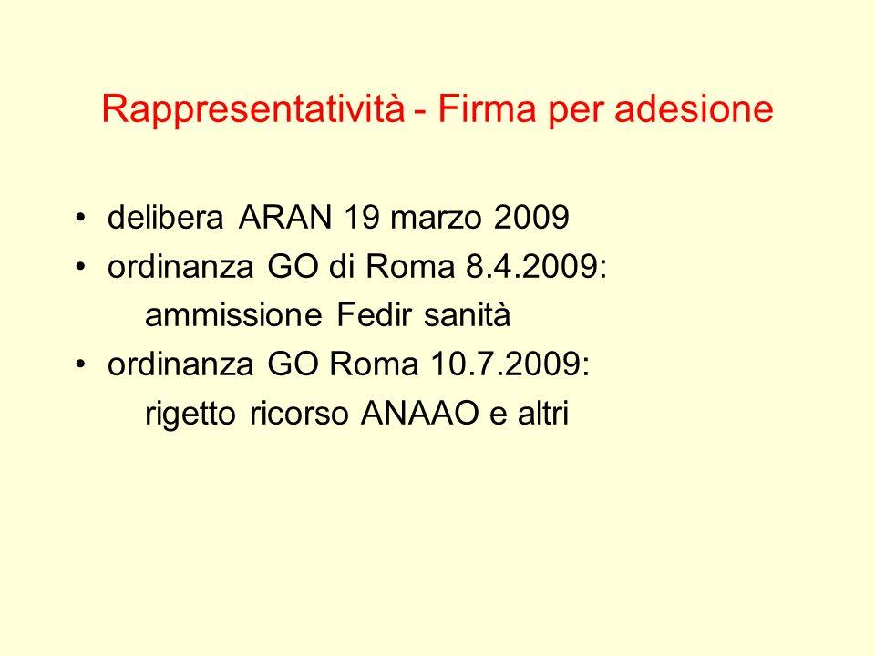 Rappresentatività - Firma per adesione delibera ARAN 19 marzo 2009 ordinanza GO di Roma 8.4.2009: ammissione Fedir sanità ordinanza GO Roma 10.7.2009: