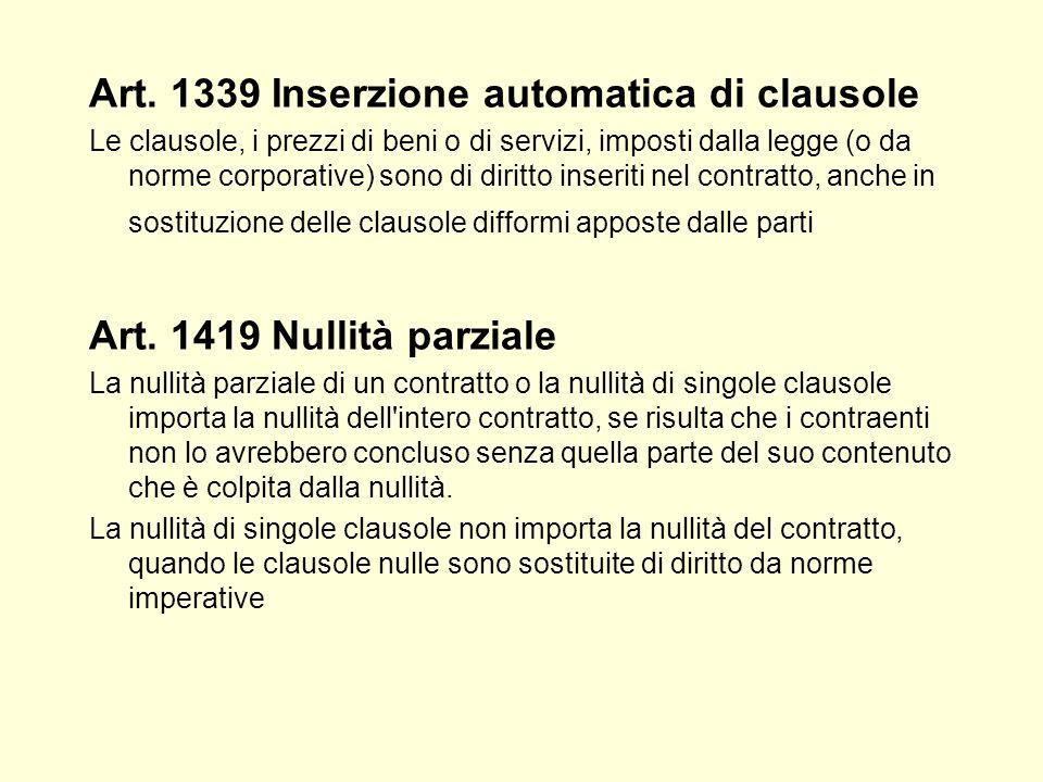 Art. 1339 Inserzione automatica di clausole Le clausole, i prezzi di beni o di servizi, imposti dalla legge (o da norme corporative) sono di diritto i