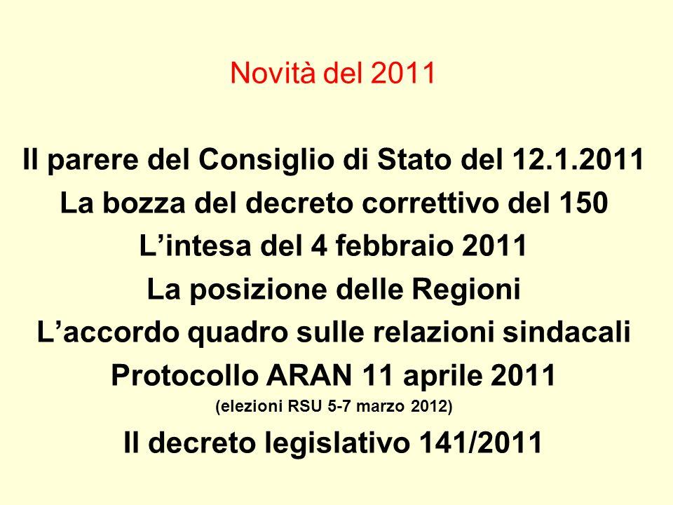 Novità del 2011 Il parere del Consiglio di Stato del 12.1.2011 La bozza del decreto correttivo del 150 Lintesa del 4 febbraio 2011 La posizione delle
