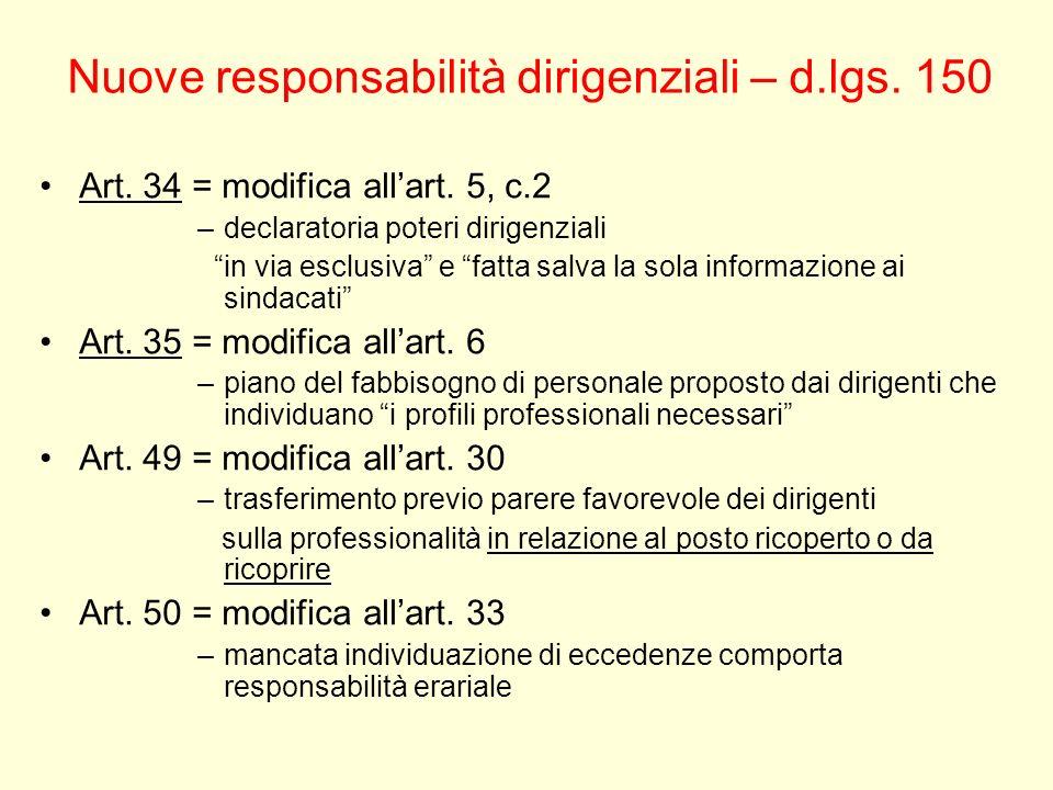 Nuove responsabilità dirigenziali – d.lgs. 150 Art. 34 = modifica allart. 5, c.2 –declaratoria poteri dirigenziali in via esclusiva e fatta salva la s