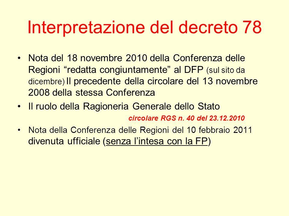 Interpretazione del decreto 78 Nota del 18 novembre 2010 della Conferenza delle Regioni redatta congiuntamente al DFP (sul sito da dicembre) Il preced