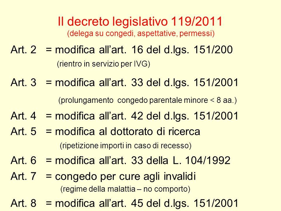 Il decreto legislativo 119/2011 (delega su congedi, aspettative, permessi) Art. 2 = modifica allart. 16 del d.lgs. 151/200 (rientro in servizio per IV
