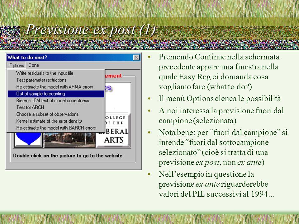 Previsione ex post (1) Premendo Continue nella schermata precedente appare una finestra nella quale Easy Reg ci domanda cosa vogliamo fare (what to do