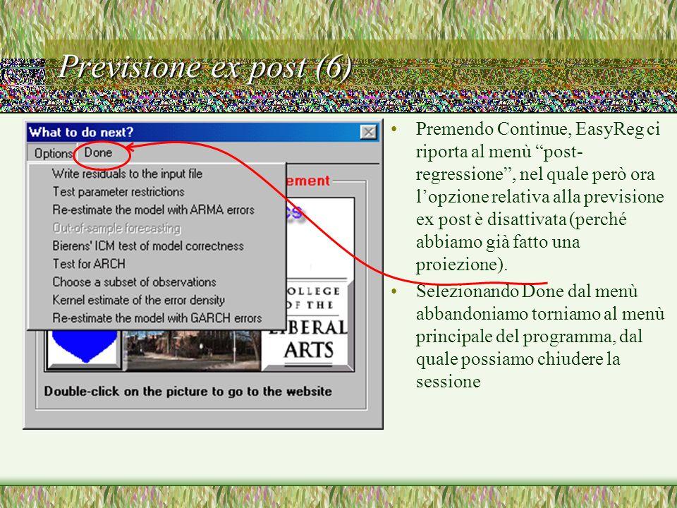 Previsione ex post (6) Premendo Continue, EasyReg ci riporta al menù post- regressione, nel quale però ora lopzione relativa alla previsione ex post è