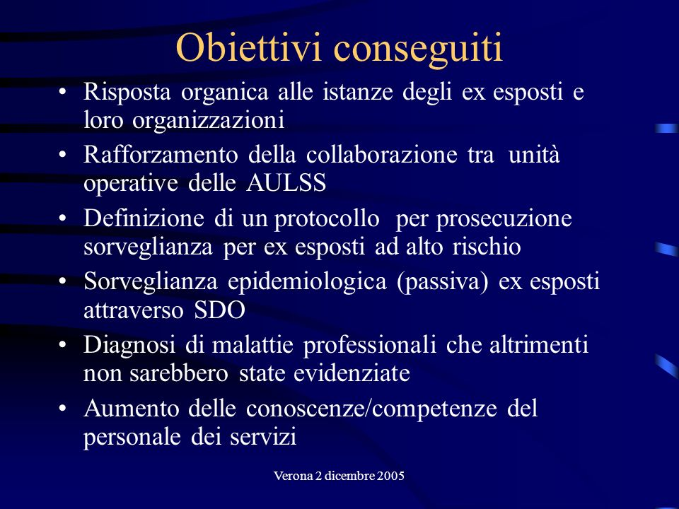 Verona 2 dicembre 2005 Obiettivi conseguiti Risposta organica alle istanze degli ex esposti e loro organizzazioni Rafforzamento della collaborazione t