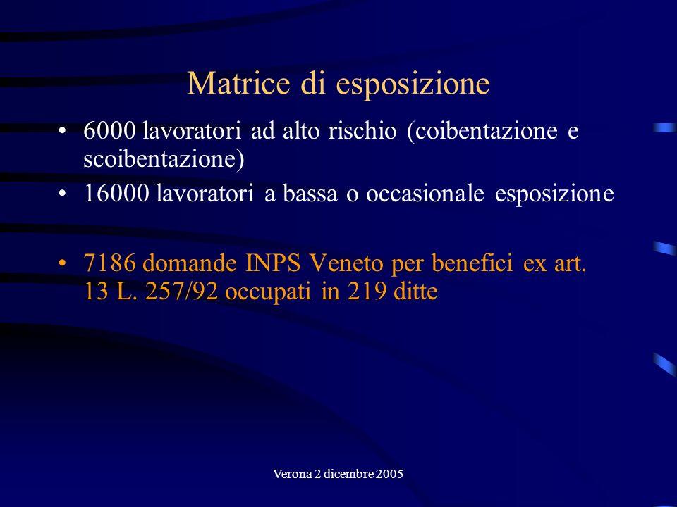 Verona 2 dicembre 2005 Criteri di accesso: mansioni e settori industriali con elevata esposizione ad asbesto –Produzione e riparazione di materiale rotabile –Coibentatori –Costruzioni e riparazioni navali –Industria del cemento-amianto