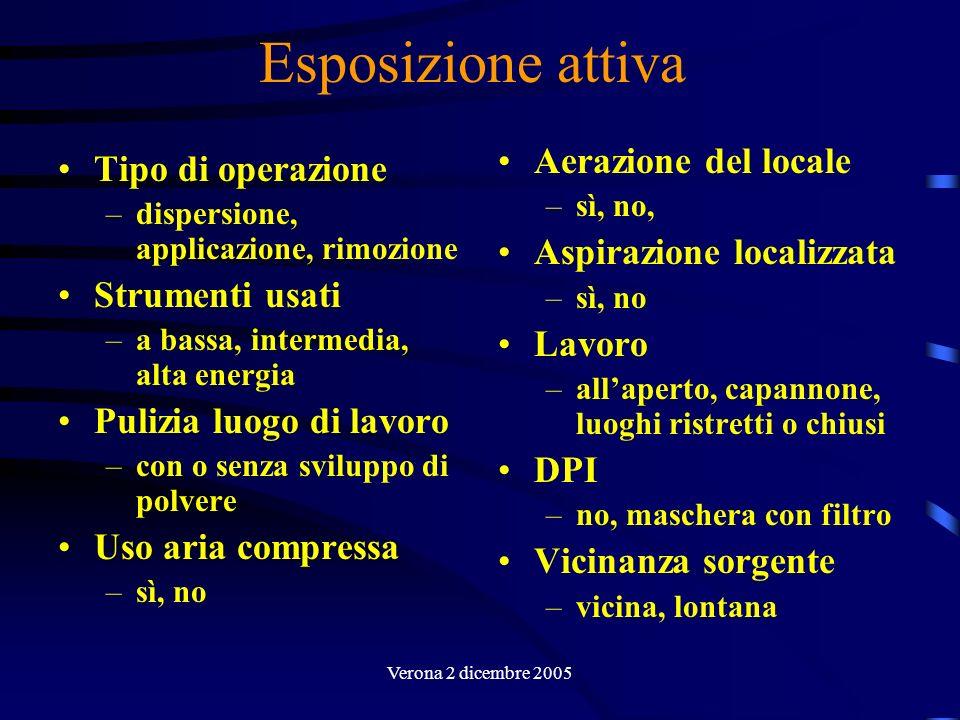 Verona 2 dicembre 2005 Valutazione dellesposizione Infine, viene condotta la valutazione semi-quantitativa di esposizione calcolando: Per ogni determinante di esposizione si riporta una valutazione ordinale, basata su scale definite in apposite tabelle.