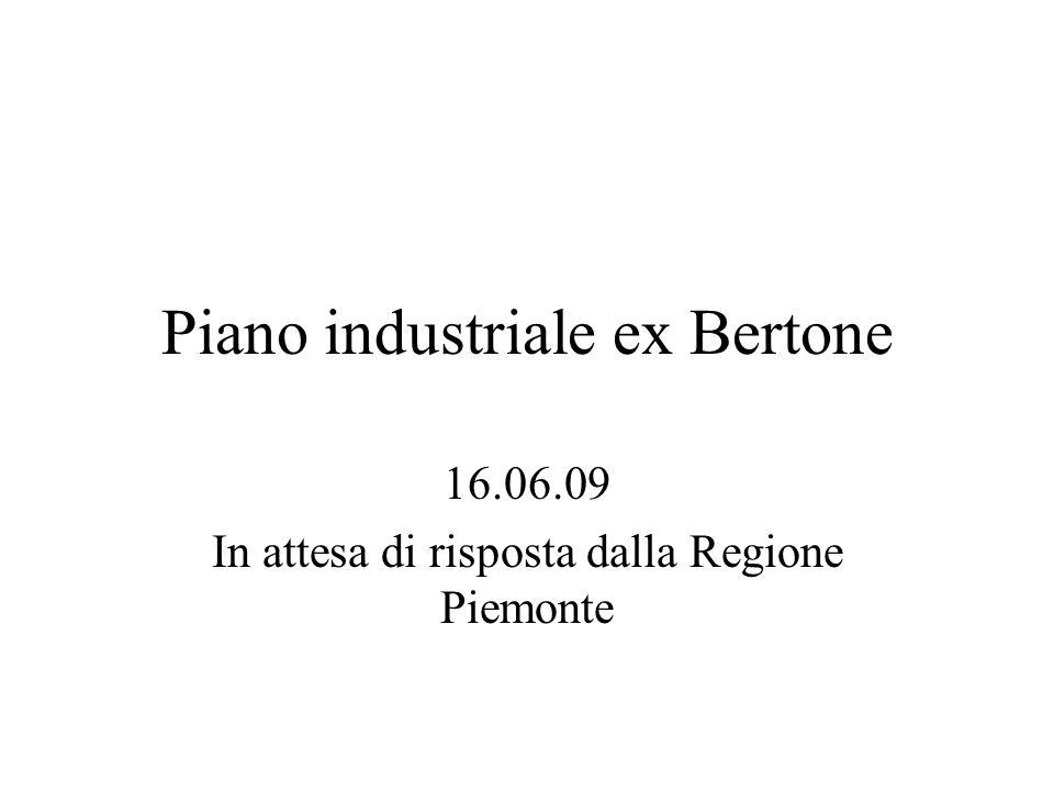 Piano industriale ex Bertone 16.06.09 In attesa di risposta dalla Regione Piemonte