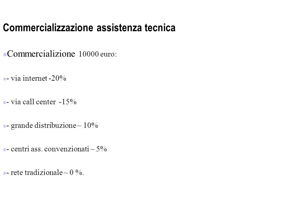 Commercializzazione assistenza tecnica Commercializione 10000 euro: - via internet -20% - via call center -15% - grande distribuzione – 10% - centri ass.