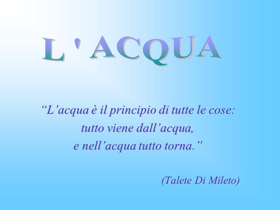 Lacqua è il principio di tutte le cose: tutto viene dallacqua, e nellacqua tutto torna.