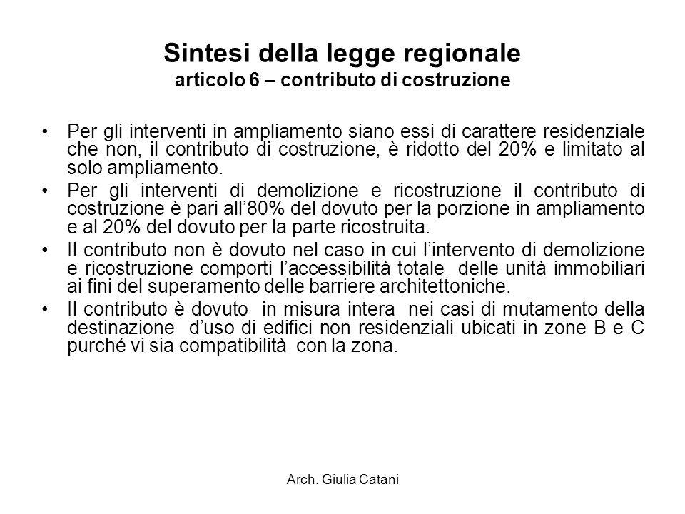 Arch. Giulia Catani Sintesi della legge regionale articolo 6 – contributo di costruzione Per gli interventi in ampliamento siano essi di carattere res