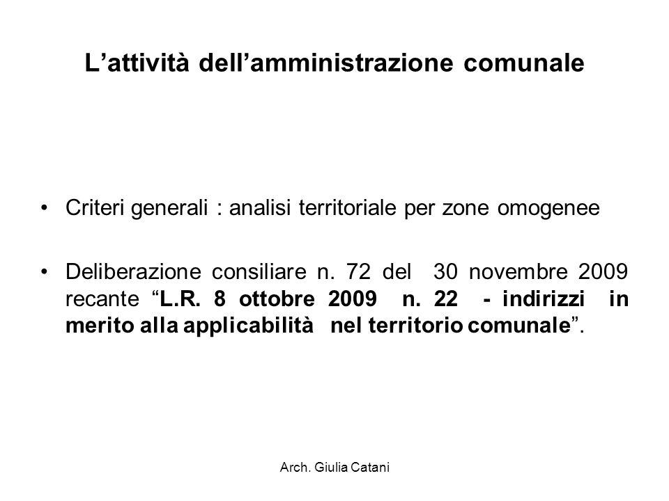 Arch. Giulia Catani Lattività dellamministrazione comunale Criteri generali : analisi territoriale per zone omogenee Deliberazione consiliare n. 72 de