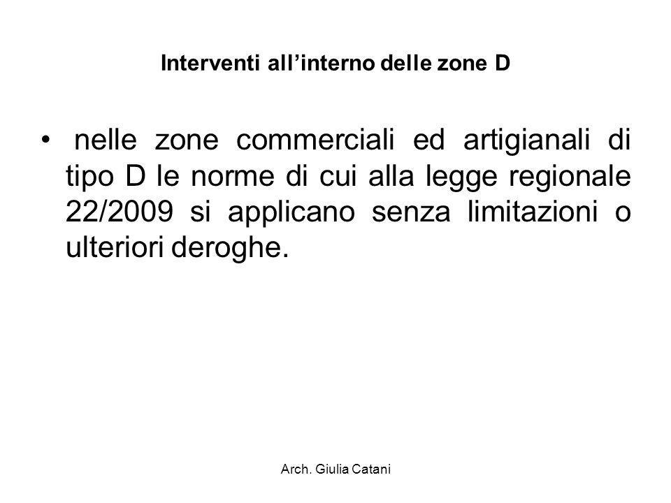 Arch. Giulia Catani Interventi allinterno delle zone D nelle zone commerciali ed artigianali di tipo D le norme di cui alla legge regionale 22/2009 si
