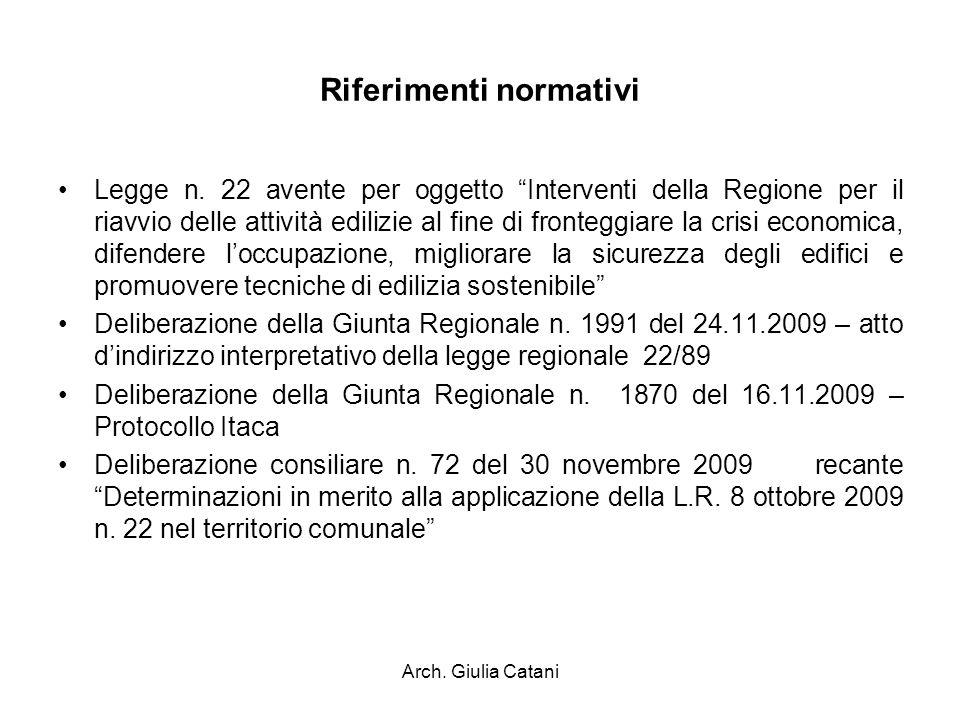 Arch. Giulia Catani Riferimenti normativi Legge n. 22 avente per oggetto Interventi della Regione per il riavvio delle attività edilizie al fine di fr