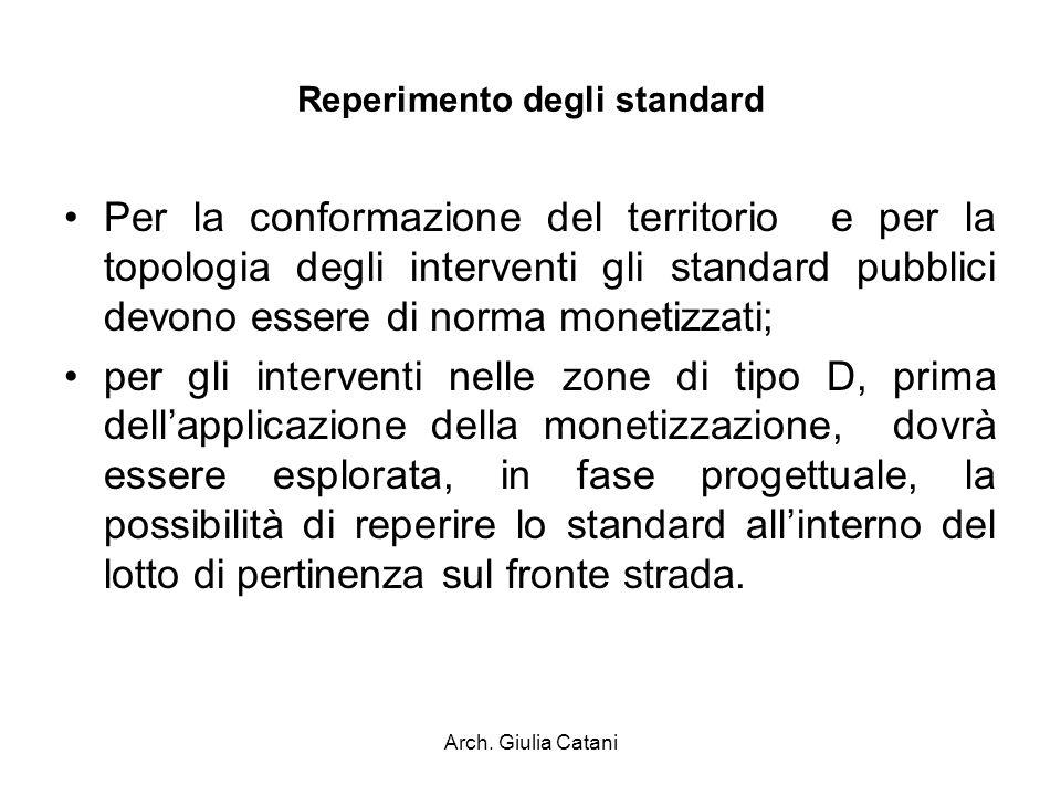 Arch. Giulia Catani Reperimento degli standard Per la conformazione del territorio e per la topologia degli interventi gli standard pubblici devono es