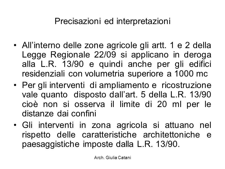 Arch. Giulia Catani Precisazioni ed interpretazioni Allinterno delle zone agricole gli artt. 1 e 2 della Legge Regionale 22/09 si applicano in deroga