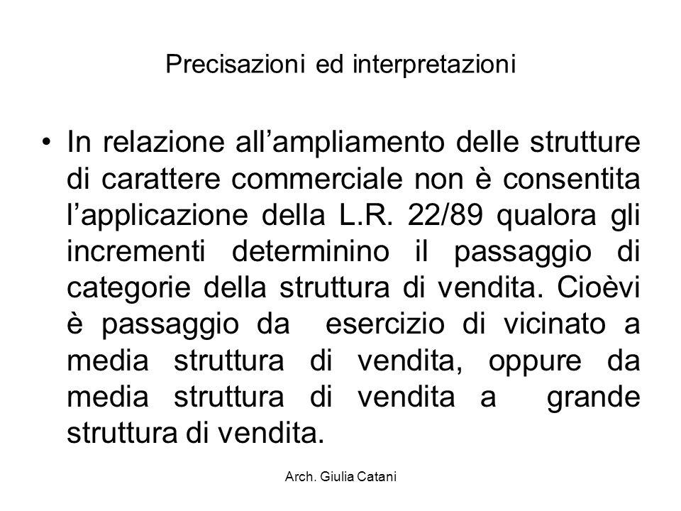 Arch. Giulia Catani Precisazioni ed interpretazioni In relazione allampliamento delle strutture di carattere commerciale non è consentita lapplicazion