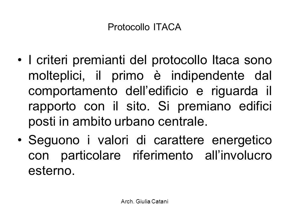 Arch. Giulia Catani Protocollo ITACA I criteri premianti del protocollo Itaca sono molteplici, il primo è indipendente dal comportamento delledificio