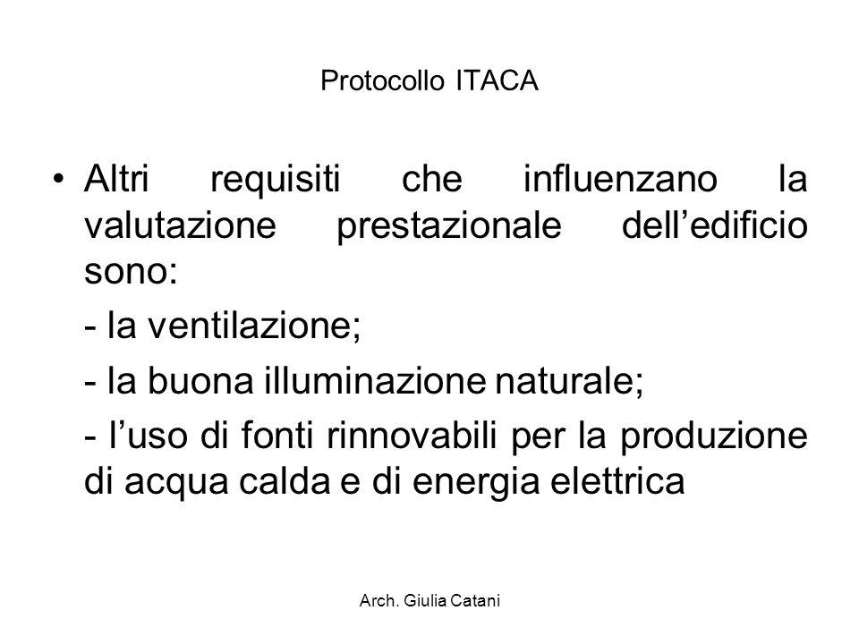 Arch. Giulia Catani Protocollo ITACA Altri requisiti che influenzano la valutazione prestazionale delledificio sono: - la ventilazione; - la buona ill