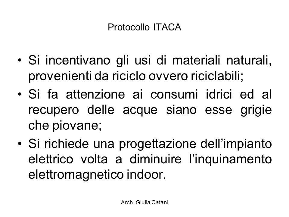 Arch. Giulia Catani Protocollo ITACA Si incentivano gli usi di materiali naturali, provenienti da riciclo ovvero riciclabili; Si fa attenzione ai cons
