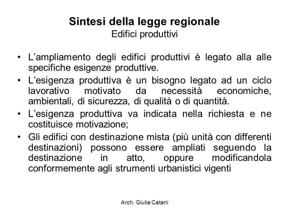 Arch. Giulia Catani Sintesi della legge regionale Edifici produttivi Lampliamento degli edifici produttivi è legato alla alle specifiche esigenze prod