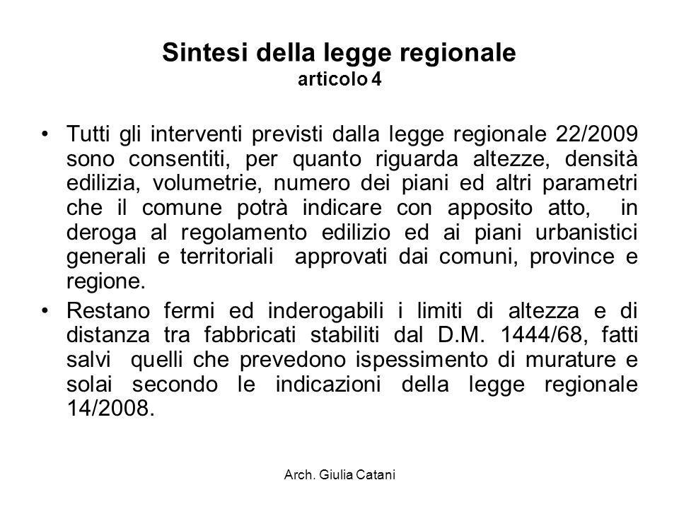 Arch. Giulia Catani Sintesi della legge regionale articolo 4 Tutti gli interventi previsti dalla legge regionale 22/2009 sono consentiti, per quanto r