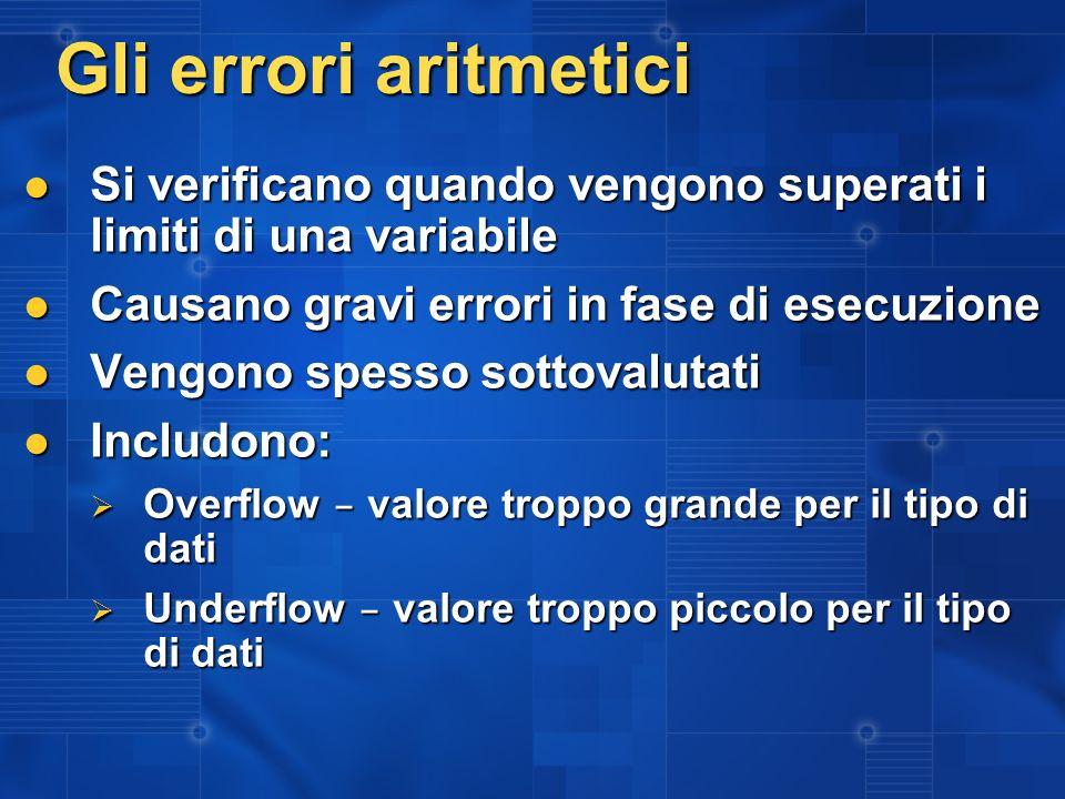 Gli errori aritmetici Si verificano quando vengono superati i limiti di una variabile Si verificano quando vengono superati i limiti di una variabile