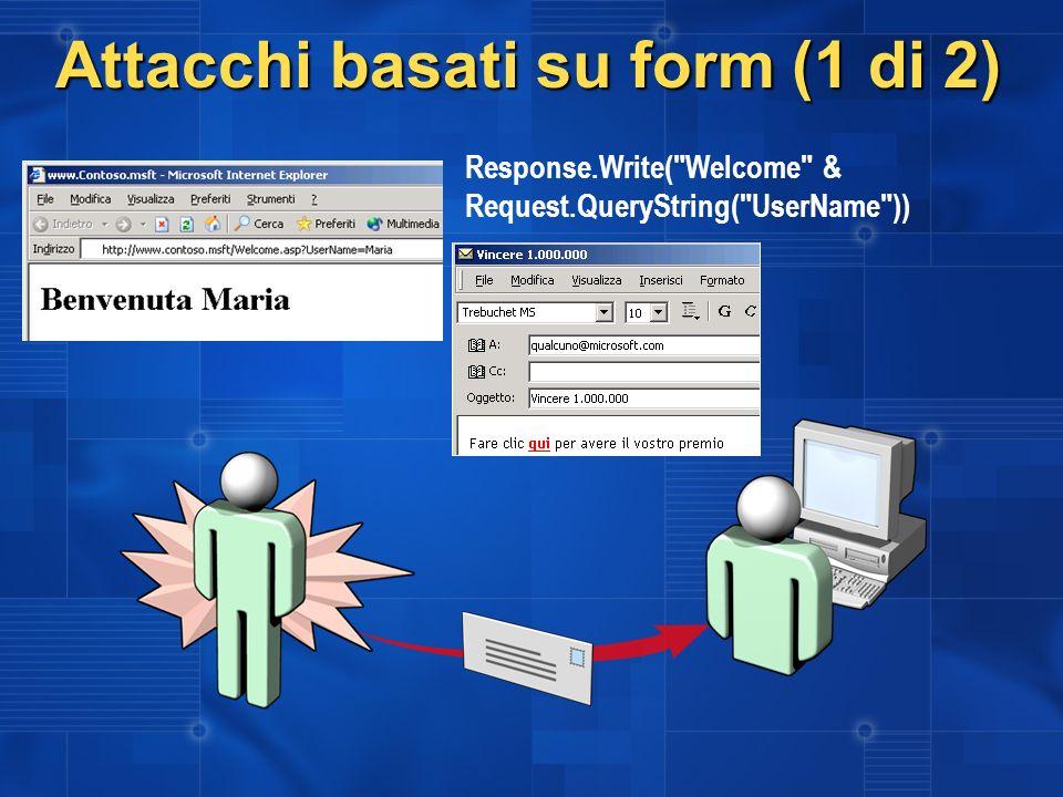 Attacchi basati su form (1 di 2) Response.Write(