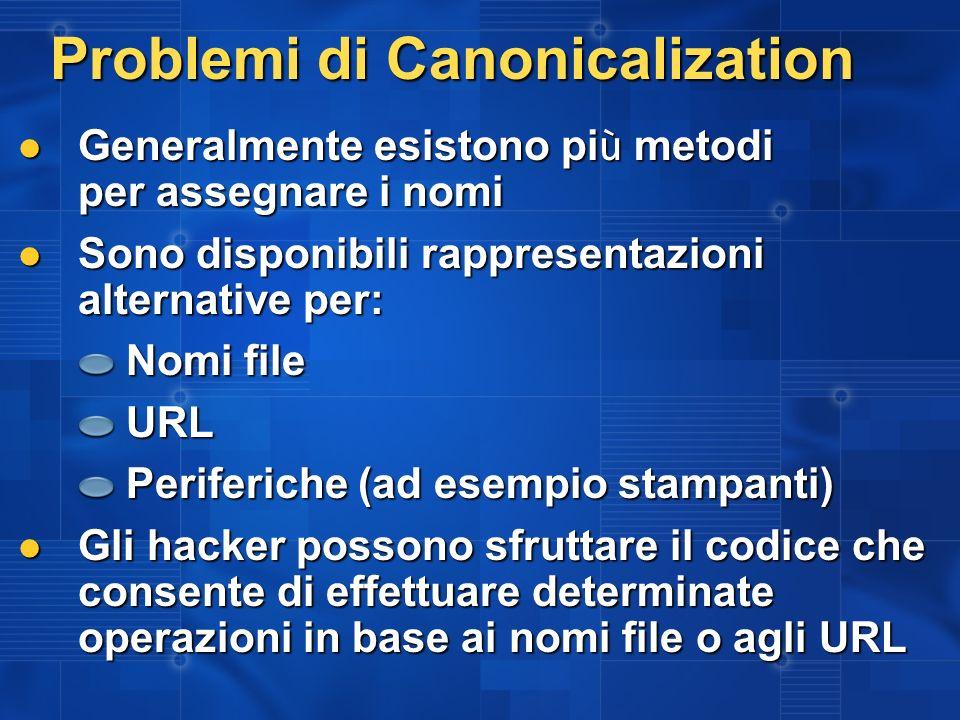 Problemi di Canonicalization Generalmente esistono pi ù metodi per assegnare i nomi Generalmente esistono pi ù metodi per assegnare i nomi Sono dispon