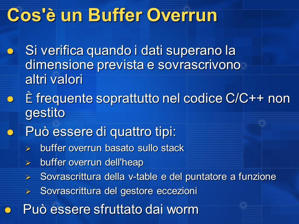 Cos' è un Buffer Overrun Si verifica quando i dati superano la dimensione prevista e sovrascrivono altri valori Si verifica quando i dati superano la
