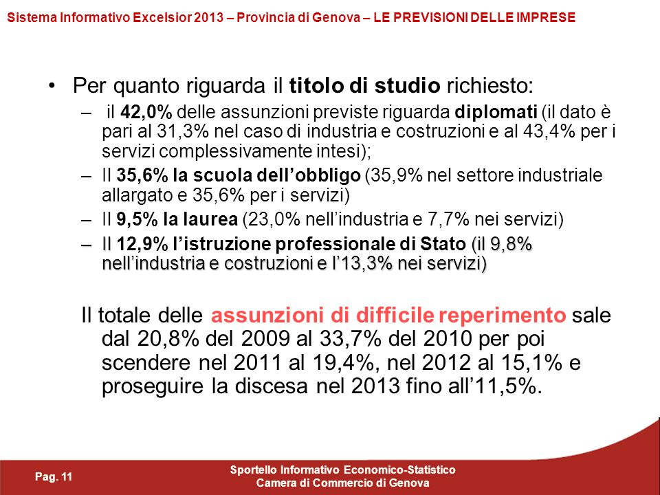 Pag. 11 Sportello Informativo Economico-Statistico Camera di Commercio di Genova Sistema Informativo Excelsior 2013 – Provincia di Genova – LE PREVISI