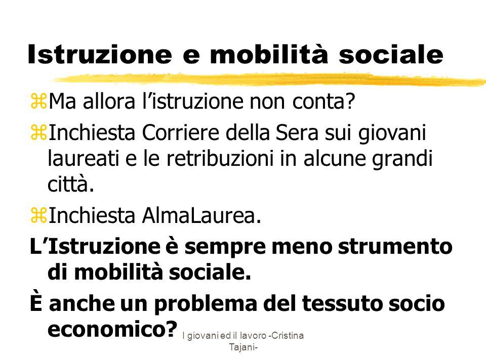 I giovani ed il lavoro -Cristina Tajani- Istruzione e mobilità sociale zMa allora listruzione non conta? zInchiesta Corriere della Sera sui giovani la