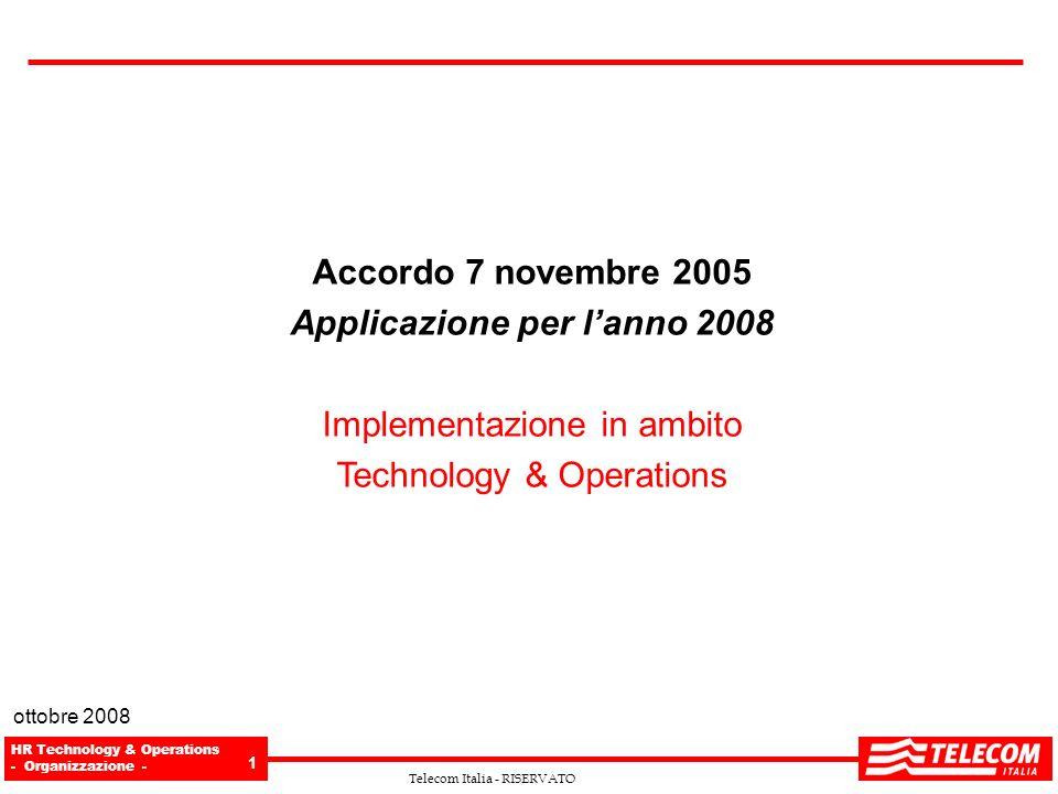 HR Technology & Operations - Organizzazione - 1 Telecom Italia - RISERVATO Accordo 7 novembre 2005 Applicazione per lanno 2008 Implementazione in ambi