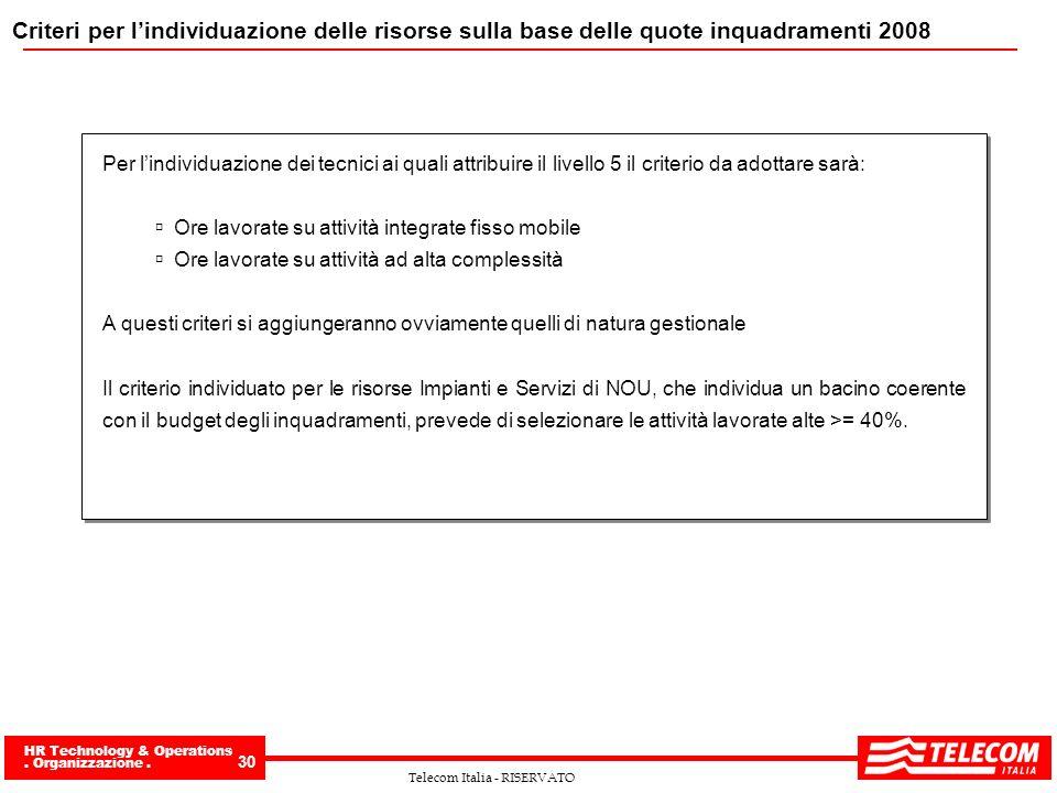 HR Technology & Operations. Organizzazione. 30 Telecom Italia - RISERVATO Criteri per lindividuazione delle risorse sulla base delle quote inquadramen