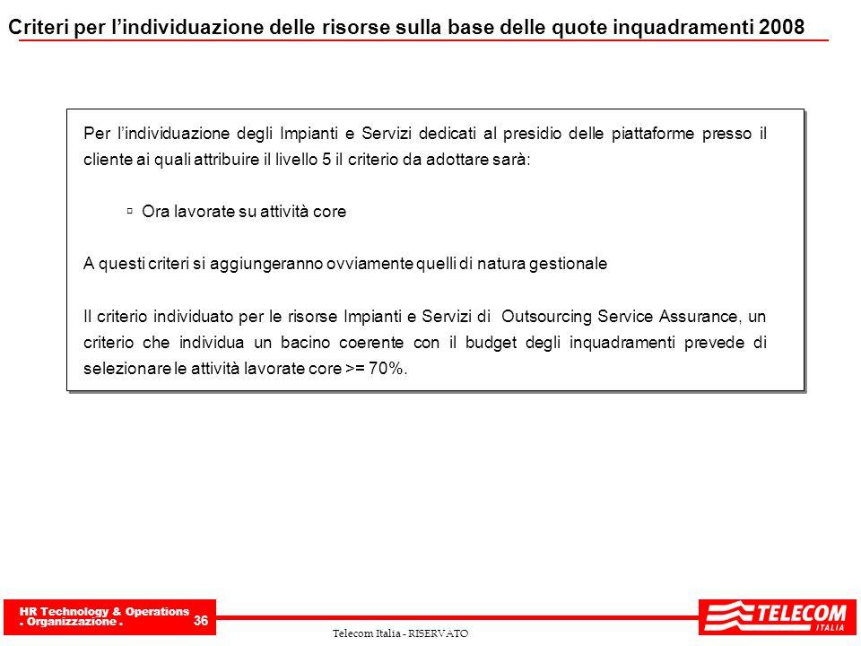 HR Technology & Operations. Organizzazione. 36 Telecom Italia - RISERVATO Criteri per lindividuazione delle risorse sulla base delle quote inquadramen