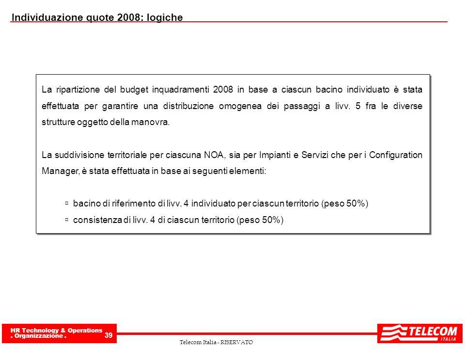HR Technology & Operations. Organizzazione. 39 Telecom Italia - RISERVATO Individuazione quote 2008: logiche La ripartizione del budget inquadramenti