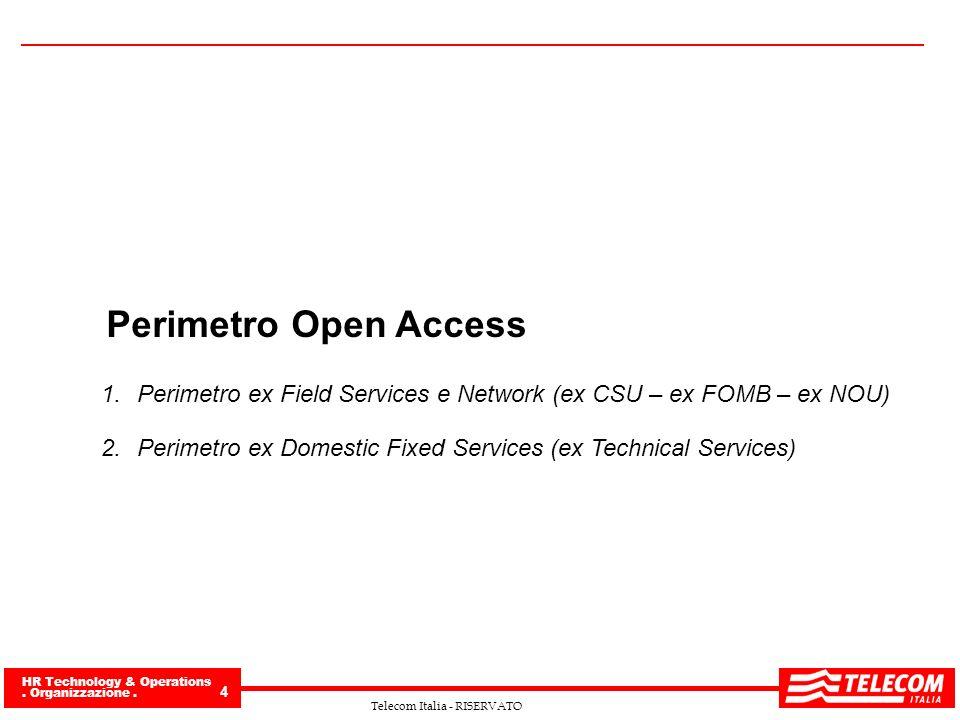 HR Technology & Operations. Organizzazione. 4 Telecom Italia - RISERVATO Perimetro Open Access 1.Perimetro ex Field Services e Network (ex CSU – ex FO