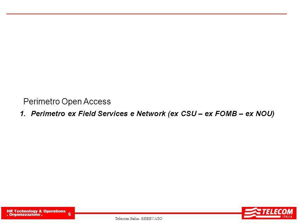 HR Technology & Operations. Organizzazione. 6 Telecom Italia - RISERVATO Perimetro Open Access 1.Perimetro ex Field Services e Network (ex CSU – ex FO