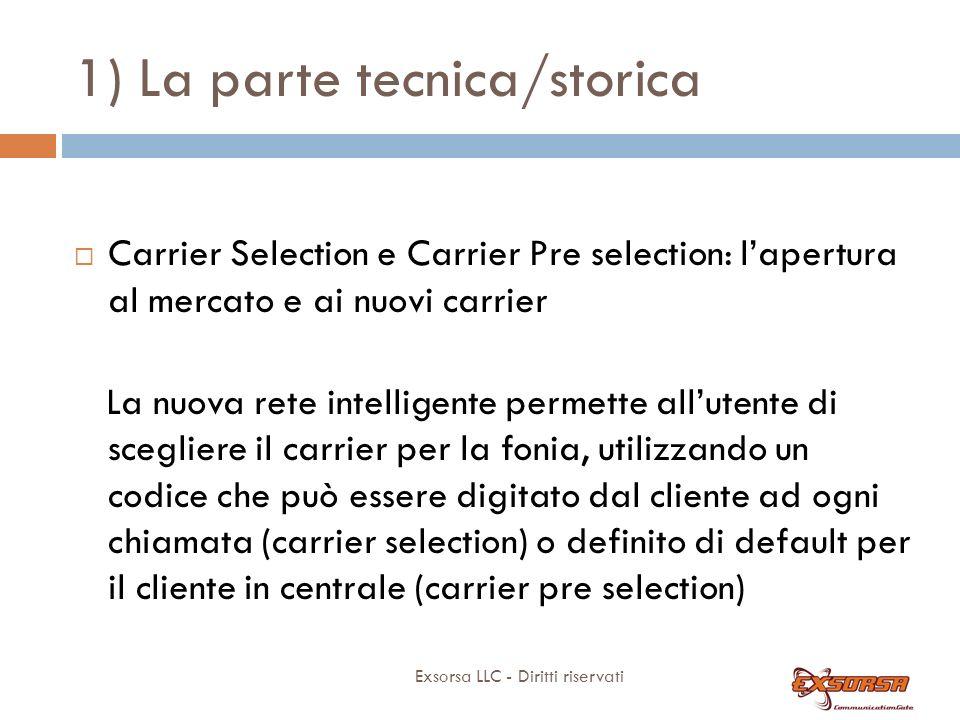 1) La parte tecnica/storica Exsorsa LLC - Diritti riservati Carrier Selection e Carrier Pre selection: lapertura al mercato e ai nuovi carrier La nuov