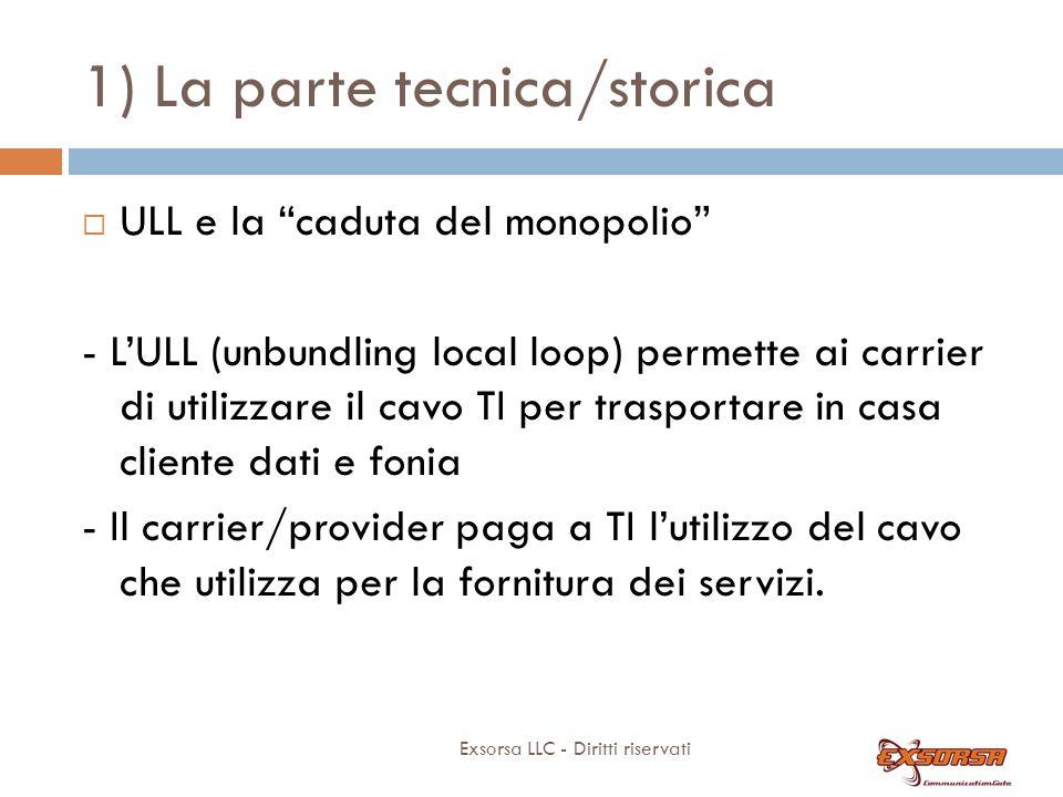 1) La parte tecnica/storica Exsorsa LLC - Diritti riservati ULL e la caduta del monopolio - LULL (unbundling local loop) permette ai carrier di utiliz