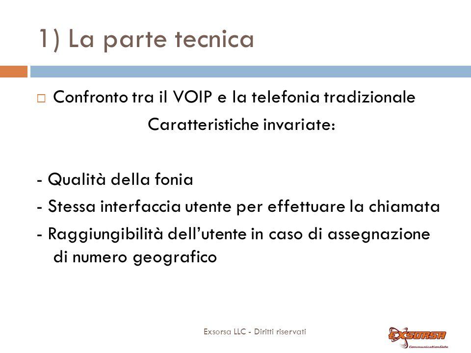 1) La parte tecnica Exsorsa LLC - Diritti riservati Confronto tra il VOIP e la telefonia tradizionale Caratteristiche invariate: - Qualità della fonia - Stessa interfaccia utente per effettuare la chiamata - Raggiungibilità dellutente in caso di assegnazione di numero geografico
