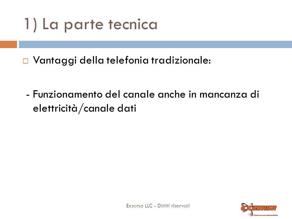 1) La parte tecnica Exsorsa LLC - Diritti riservati Vantaggi della telefonia tradizionale: - Funzionamento del canale anche in mancanza di elettricità/canale dati