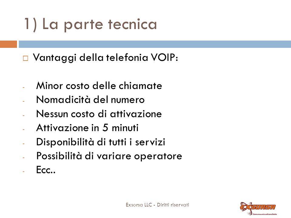 1) La parte tecnica Exsorsa LLC - Diritti riservati Vantaggi della telefonia VOIP: - Minor costo delle chiamate - Nomadicità del numero - Nessun costo di attivazione - Attivazione in 5 minuti - Disponibilità di tutti i servizi - Possibilità di variare operatore - Ecc..
