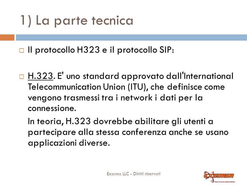 1) La parte tecnica Exsorsa LLC - Diritti riservati Il protocollo H323 e il protocollo SIP: H.323. E' uno standard approvato dall'International Teleco