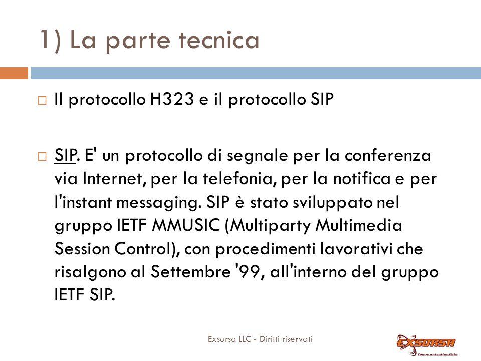 1) La parte tecnica Exsorsa LLC - Diritti riservati Il protocollo H323 e il protocollo SIP SIP.